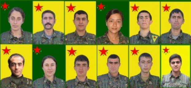 12 YPG / YPJ savaşçısının kimliği açıklandı