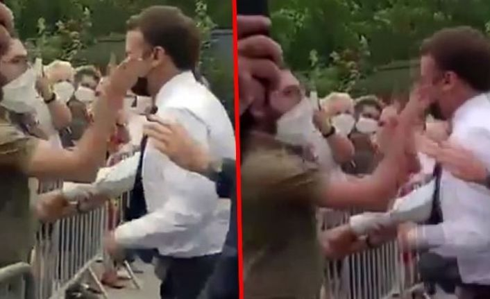 Protestocudan Fransa Cumhurbaşkanı Macron'a tokatlı saldırı