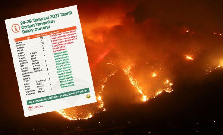 Tarım ve Orman Bakanlığı: 42 yangın kontrol altına alındı, 21 yangın devam ediyor