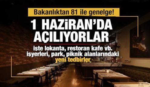 Bakanlıktan 81 il valiliğine 'lokanta, restoran kafe' genelgesi