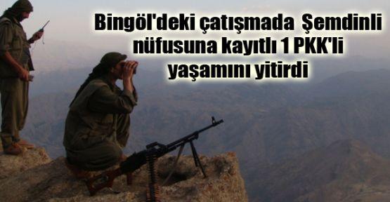 Bingöl'de Şemdinli nüfusuna kayıtlı 1 PKK'li yaşamını yitirdi