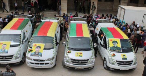Cenazeyên 4 şervanên YPG'ê ber ve goristana Şehîd Ristem ve hatin oxirkirin