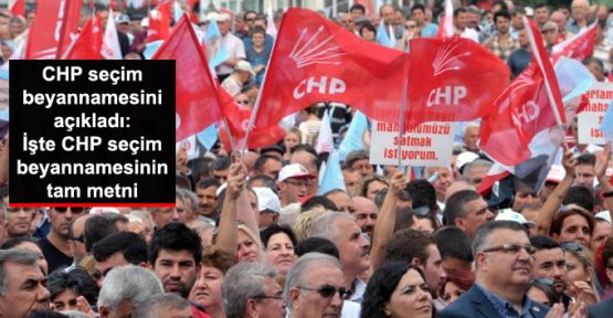 CHP seçim beyannamesinin tam metni