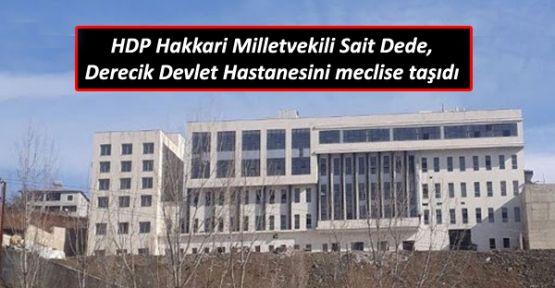 HDP Hakkari Milletvekili Sait Dede, Derecik Devlet Hastanesi'ni meclise taşıdı