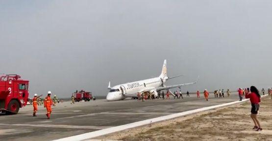 Ön tekerlekleri açılmayan uçak acil iniş yaptı