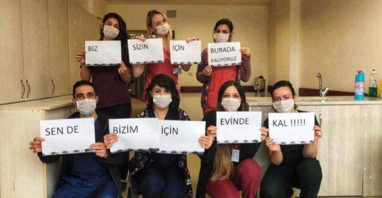 Şemdinli Devlet Hastanesi sağlık çalışanlarından vatandaşa 'evde kal' çağrısı