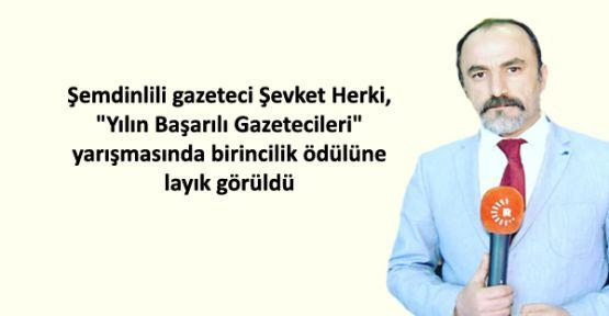 Şemdinlili gazeteci Şevket Herki'ye ödül