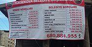 Yüksekova Belediyesi'nin borcu pankart...