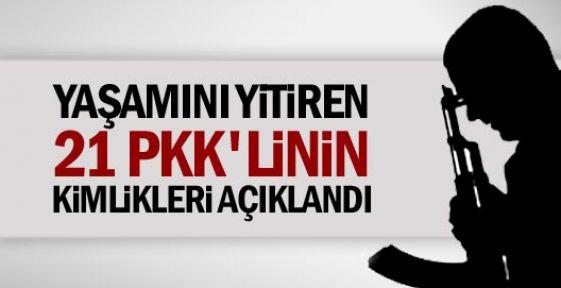 Yaşamını yitiren 21 PKK'linin kimliği açıklandı