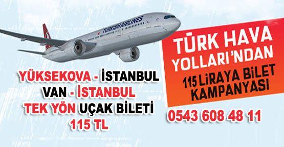 YÜKSEKOVA - İSTANBUL UÇAK BİLETİ 115 TL