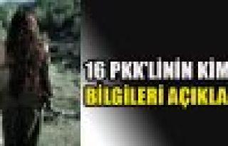 16 PKK'linin kimlikleri açıklandı