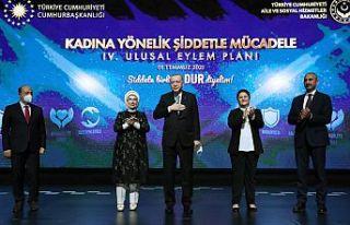 Erdoğan: Kadına yönelik şiddetle mücadelemiz...