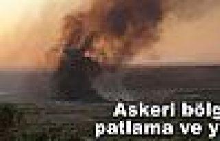 Kilis'te askeri üs bölgesinde yangın ve mühimmat...