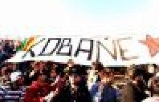 Livorno takımının taraftarları Kobani pankartı...