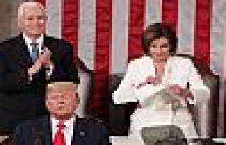 Pelosi, Kongre'de Trump'ın konuşmasını yırttı!