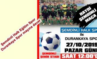 Şemdinli Halk Eğitim Spor - Durankaya Spor maçına davet