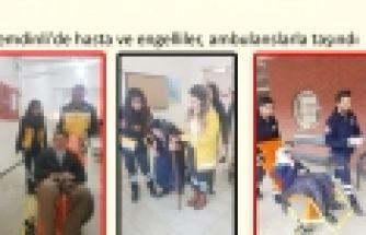 Şemdinli'de hasta ve engelliler, ambulanslarla taşındı